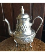 Vintage  French Tufted Design Chomouri Silver PlateTea Pot Silverplate Signed - $107.99
