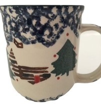 Folk Craft Cabin In The Snow Christmas Coffe Mugs Cups by Tienshan Farmhouse GUC - $19.95
