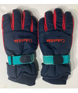 Vintage 1990s Men's Size Large Columbia Puffy Winter Gloves Navy Blue Red - $19.55