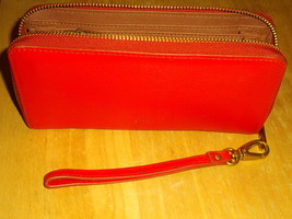 Fossil, Woman's Leather Wristlet, Carryall Wallet, w/Zip Pockets, Red - $45.00