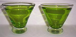 Lime Green Handblown (2) Cocktail Collectible Glasses With Air Bubbles - $34.99