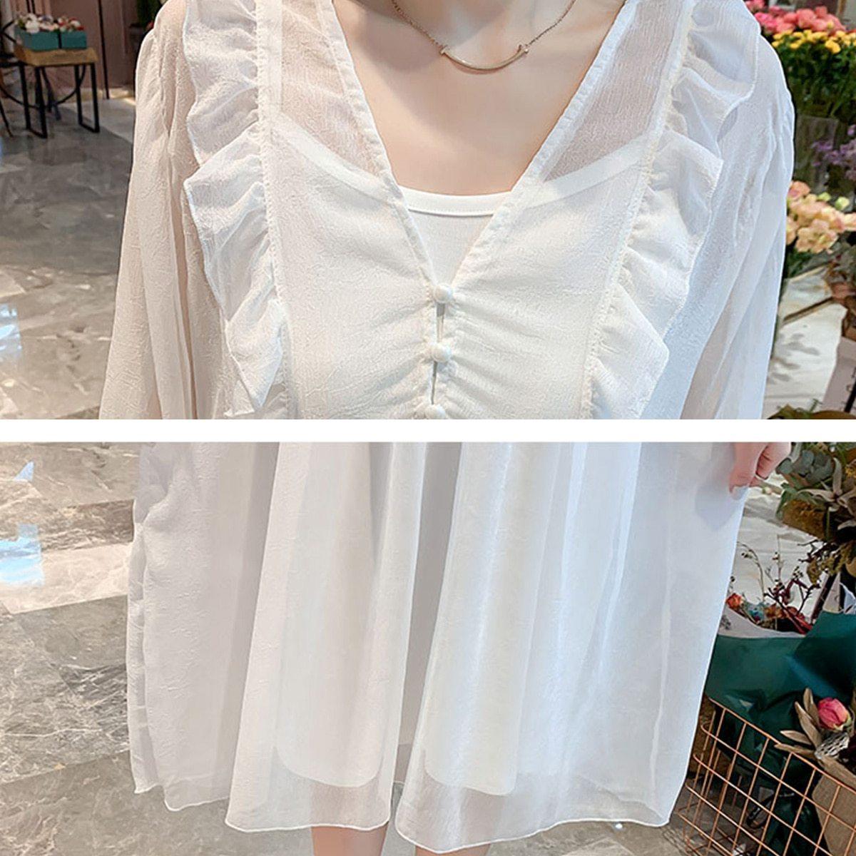 2Pcs Maternity Dress Set Fashion Solid Color V Neck Loose Casual Dresses Suit image 5