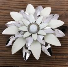 Vintage 1960's White Silver Enamel Metal Flower Brooch Pin Signed Sarah ... - $14.35