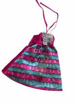 Vintage Mattel Barbie Doll Dress Striped Pink Blue 90s Ruffle - $9.89
