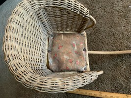 Baby Carriage Buggy Antique Doll Wicker Stroller  - $247.50