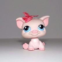 Littlest Pet Shop Pig Blue Eyes Pink Bow 87 - $5.65