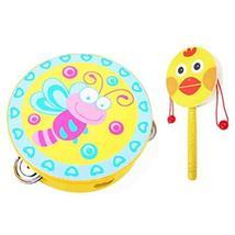 PANDA SUPERSTORE 2PCS Kids Musical Instruments Wooden Tambourine Cute Hand Drum(