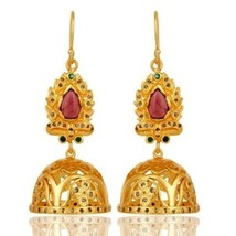 Pave Diamond Emerald Pink Tourmaline Gemstone 925 Silver Jhumka Earrings - $263.34