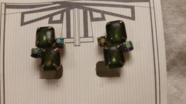 Vintage Dark Green Glass Aurora Prong Stones Silver Tone Clip On Earring... - $15.99