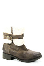 UGG Australia Womens Side Zip Shearling Trim Mid Calf Boots Gray Leather Size 7 - $89.00