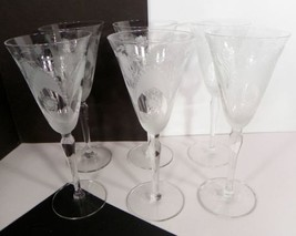 Clear Satin Cut Crystal Water Goblet (s) LOT OF 6 Floral Dots And Arches... - $64.30