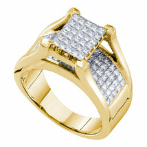 14kt Yellow Gold Princess Diamond Cluster Bridal Wedding Engagement Ring... - £2,096.10 GBP