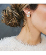 Pearl Stud EARRINGS Double Ball Pearl  2Sided WHITE Dior Style Mise en Tribal - $9.99