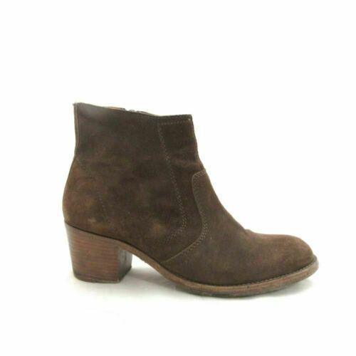 Primary image for 40/9.5 - A.P.C. Brown Suede Stacked Heel Side Zip Ankle Boots Booties 0502SE