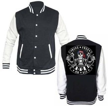 Varsity Collage Letterman Fleece Jacket Ride Free Or Dye Rebel Biker Skull - $29.99