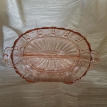 Vtg Anchor Hocking Depression Glass Pink Oyster & Pearl Relish Dish (193... - $13.50