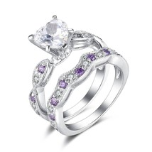 Heart & Round Cut Purpal Amethyst & Sim.Diamond Bridal Ring 14K White Go... - $122.00