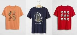 Gap Kids Boys T-shirt 8 Red Navy Orange Dino Skull Science Graphic Short... - $14.95