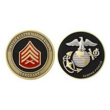 "USMC MARINE CORPS SERGEANT BLACK GOLD SILVER EGA 1.75""  CHALLENGE COIN - $16.24"