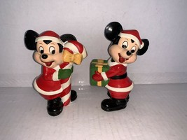 WALT DISNEY PRODUCTIONS PAIR OF MICKEY MOUSE HAND PAINTED FIGURINE KOREA... - $18.00