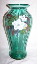 Fenton Light Green Vase-Hand-painted by A.Brock-9 3/4 inches tall - $45.00