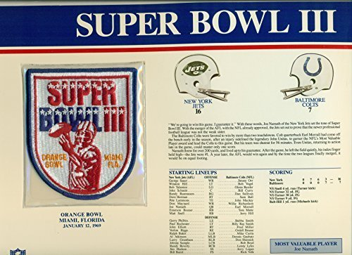 Super Bowl III Official Patch New York Jets vs. Baltimore Colts at Orange Bowl -