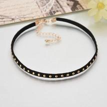 Retro Simple BLack Velvet Leather Clavicle Collar Choker Necklace Chain - $7.91