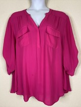 Torrid Womens Plus Size 4 (4X) Hot Pink Button Neck Pocket Blouse Elbow ... - $19.80