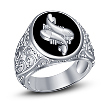 Pisces Zodiac Mens Wedding Anniversary Diamond Ring 14k White Finish 925... - £74.26 GBP