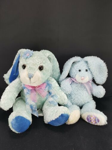 Lot 2 Easter Bunny Rabbit Blue White Pink bow Plush Stuffed Animal Beanie