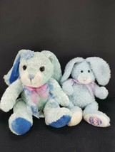 Lot 2 Easter Bunny Rabbit Blue White Pink bow Plush Stuffed Animal Beanie - $12.46
