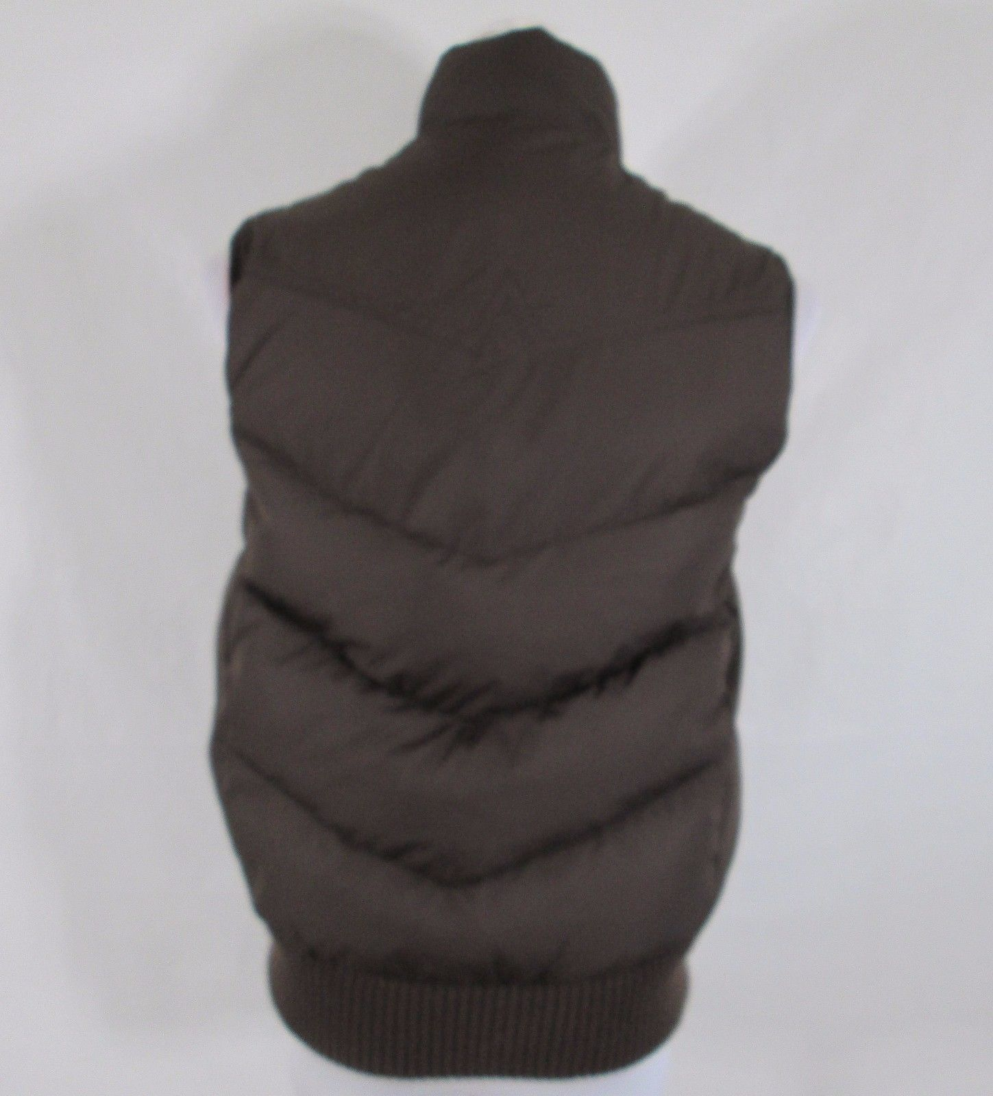 GAP Puffer Brown Down Filled Quilted Vest Womens Medium Snap Up Insulated