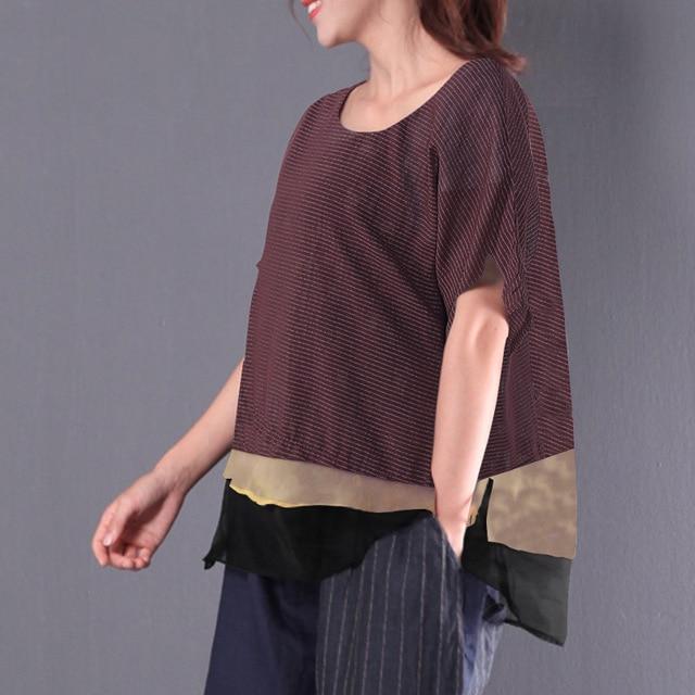 2018 ZANZEA Women O Neck Short Sleeve Stripe Cotton Linen Patchwork Blouse Summe
