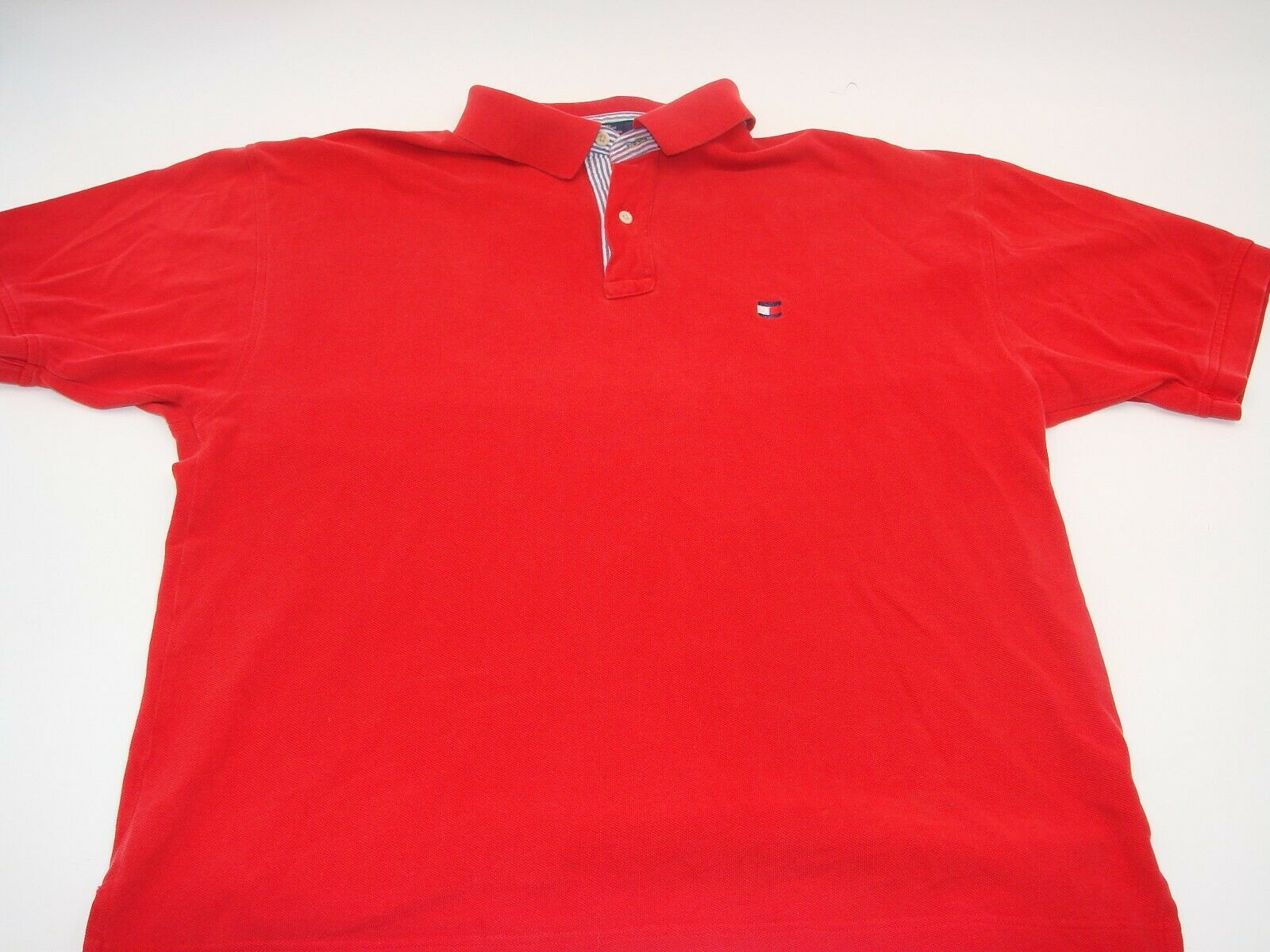 VINTAGE Tommy Hilfiger Polo Shirt Adult Extra Large XL Red Flag Rugby Men's 90's - $14.64