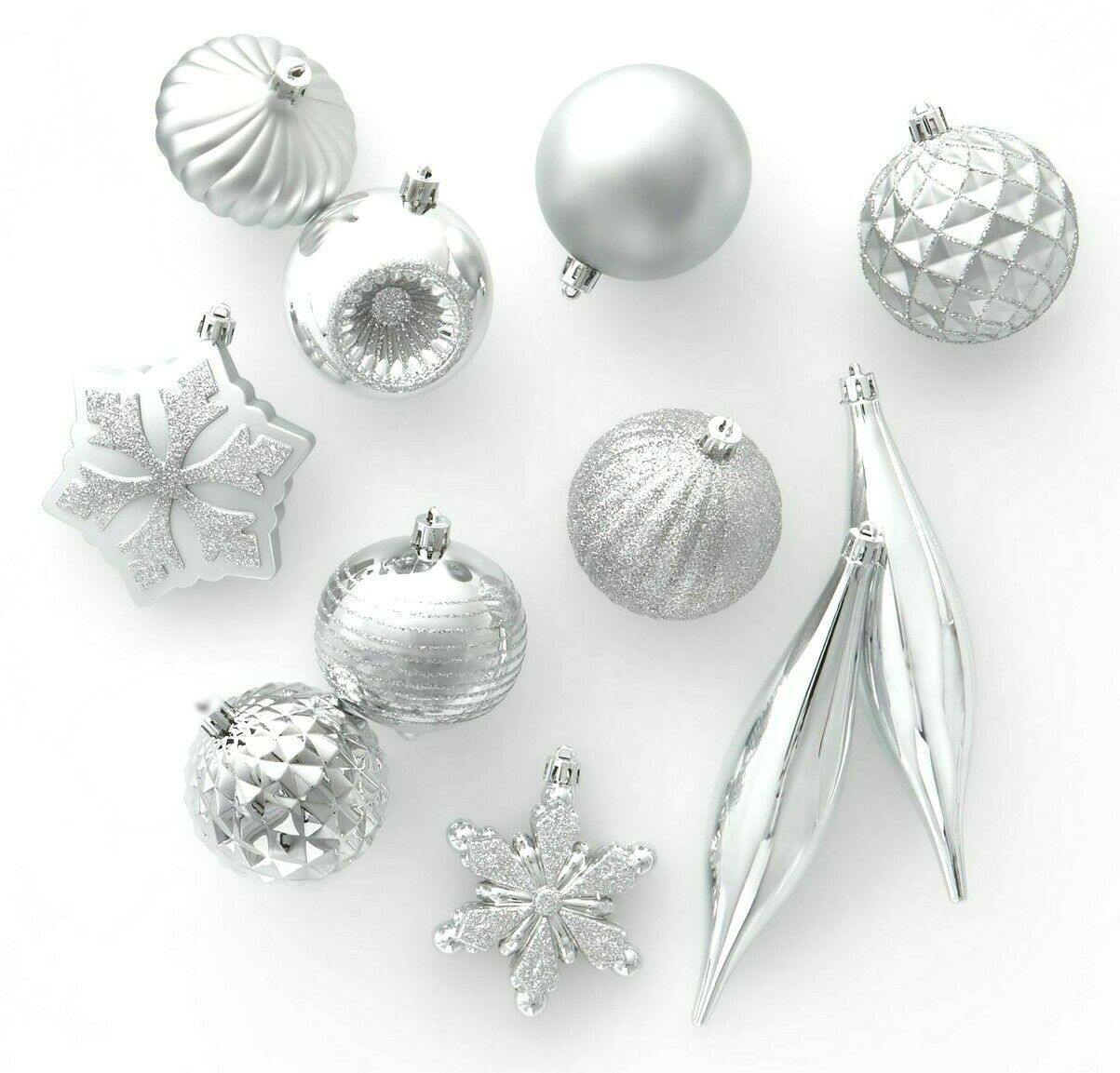 40ct Silver Shatter Proof Resistant Christmas Tree Ornament Set Wondershop NEW
