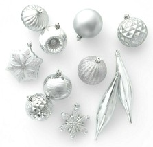 40ct Silver Shatter Proof Resistant Christmas Tree Ornament Set Wondersh... - $15.00