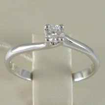 White Gold Ring 750 18K, Solitaire, Braided Rounded, Diamond, CT 0.16 image 2