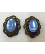 Clip On Earrings Brass Filigree Blue Glass Cabochon Stones Vintage W Ger... - $10.88