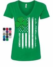 Shamrock Flag Stars and Stripes Women's V-Neck T-Shirt Irish St. Patrick... - $16.74+