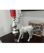 Christmas Glitter Sequins Beaded Silver Reindeer Figurine Statue Tableto... - $34.99