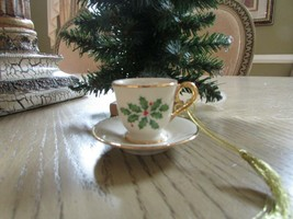 LENOX CHINA TEACUP AND SAUCER ORNAMENT GOLD THREAD HANGER MINT HOLLY BER... - $8.86
