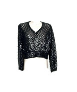 Sequin Sweater Black Vintage Size 8 Long Sleeve V Neck Mesh Open Weave C... - $22.27