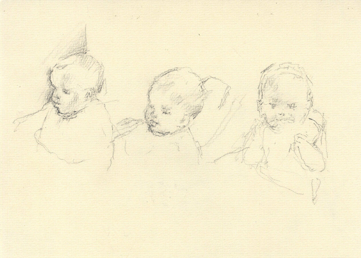 Maurice Feild (1905-1988) - Charcoal Drawing, Portraits of a Baby