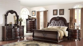 Crown Mark Stanley Rich Brown Finish Solid Wood King Size Bedroom Set 5Pcs
