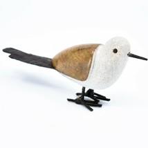 Handmade Serpentine Stone Recycled Metal Ground Seagull Bird Sculpture Zimbabwe