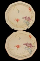 2 Mikasa Craft Works DQ 201 Cream Colored Dinner Plates Floral Pastel Pa... - $32.66