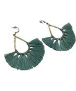 Tassel Hammered Gold Tone Drop Teardrop Hoop Earrings Green silk Stateme... - $13.98