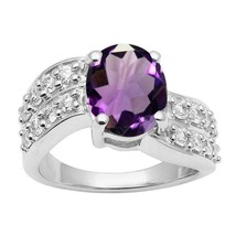 925 Silver Amethyst Single Stone Side Accents Bypass Promise Ring Gift - $30.32