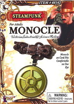 SteamPunk Victorian Monocle Gold Toned Gear Eyepiece, NEW SEALED - $7.61