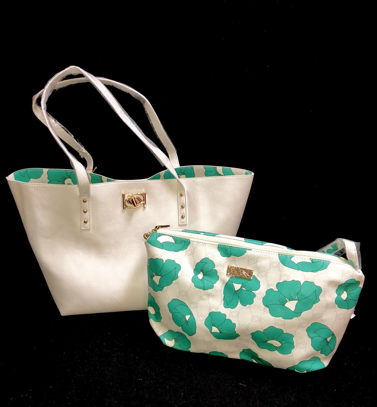 Primary image for bebe Large Purse Tote Shopper With Cosmetic Bag Reversible White Floral Green